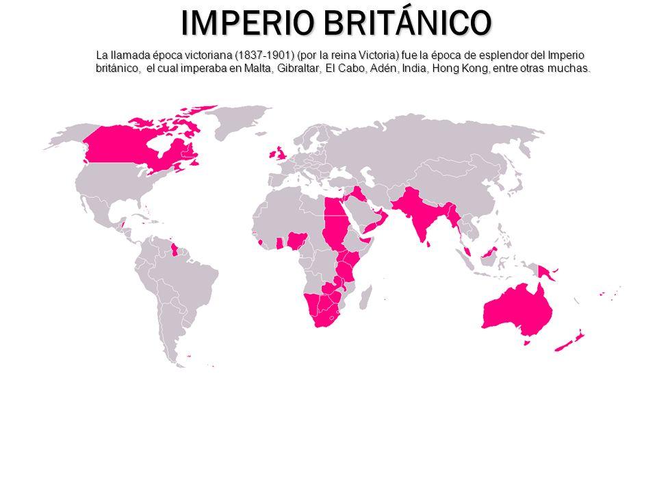 La llamada época victoriana (1837-1901) (por la reina Victoria) fue la época de esplendor del Imperio británico, el cual imperaba en Malta, Gibraltar,