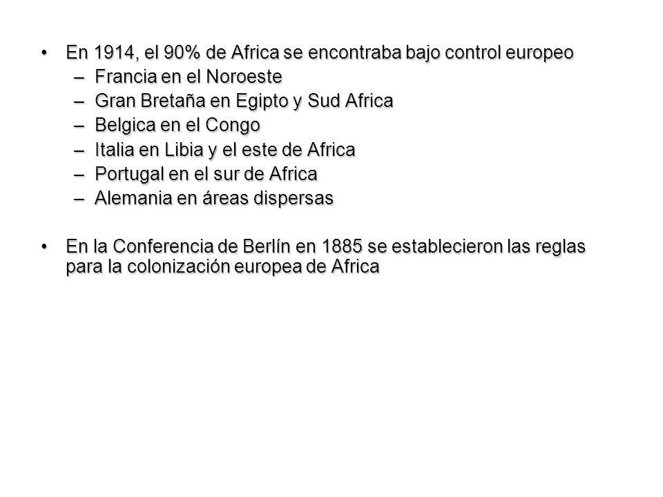 En 1914, el 90% de Africa se encontraba bajo control europeoEn 1914, el 90% de Africa se encontraba bajo control europeo –Francia en el Noroeste –Gran
