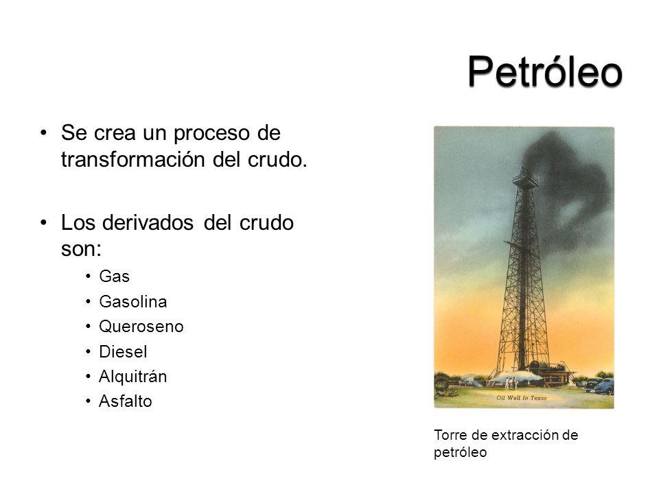 Se crea un proceso de transformación del crudo. Los derivados del crudo son: Gas Gasolina Queroseno Diesel Alquitrán Asfalto Torre de extracción de pe