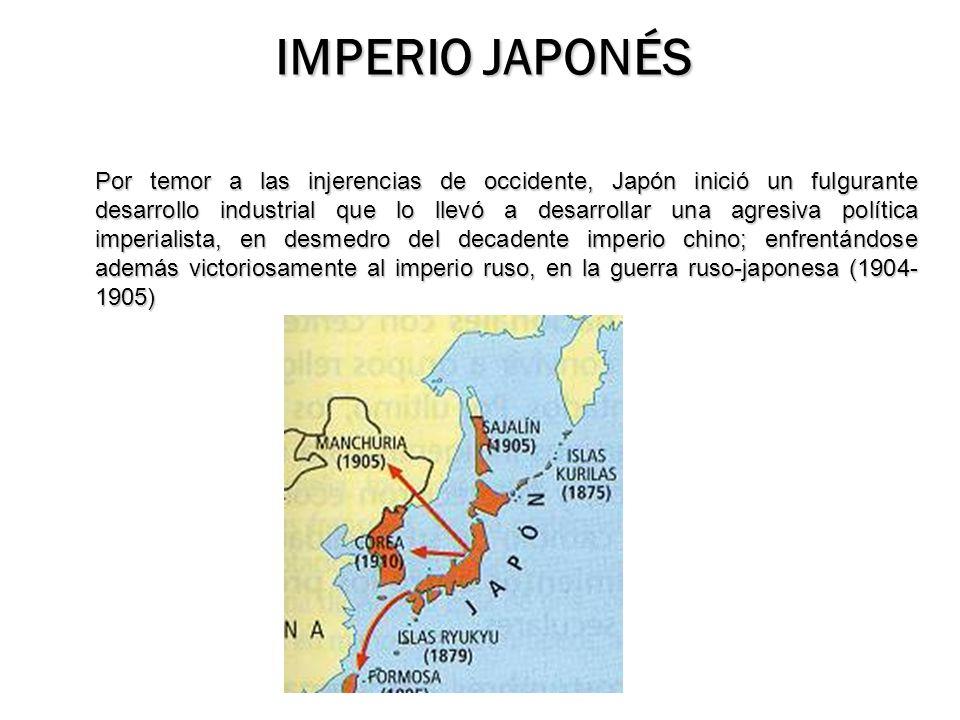 Por temor a las injerencias de occidente, Japón inició un fulgurante desarrollo industrial que lo llevó a desarrollar una agresiva política imperialis