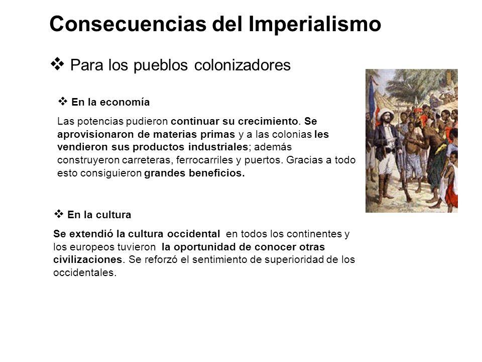 Para los pueblos colonizadores En la economía Las potencias pudieron continuar su crecimiento. Se aprovisionaron de materias primas y a las colonias l