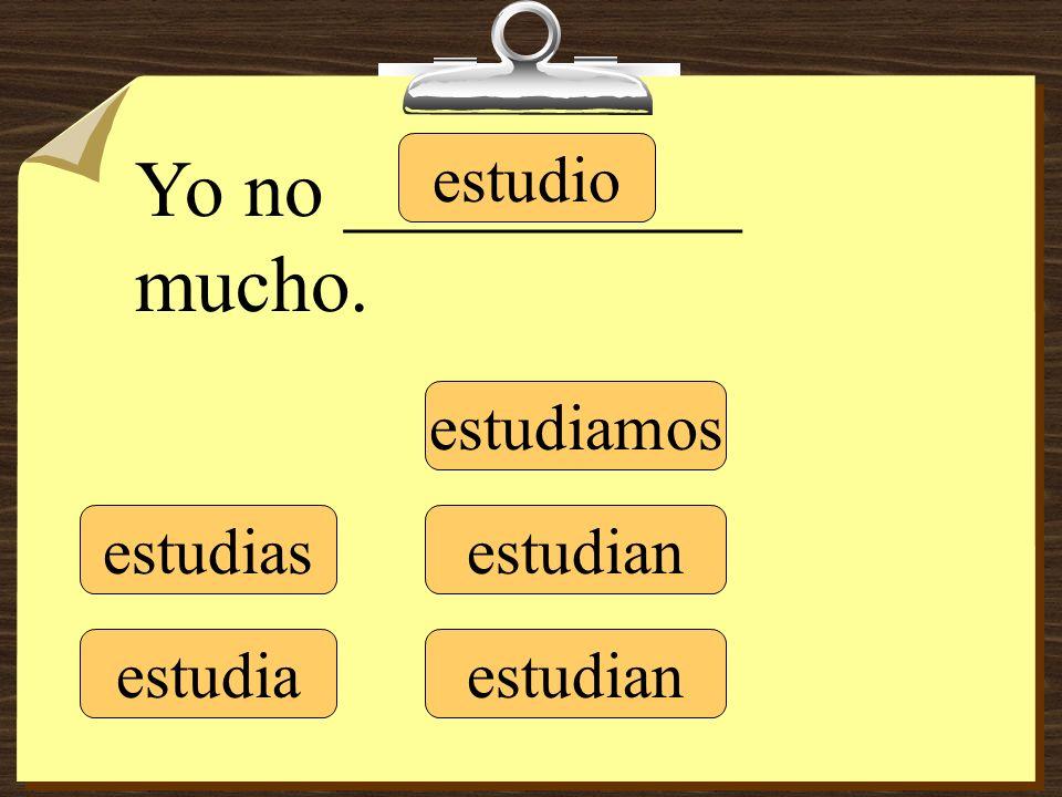 estudio estudias estudia estudiamos estudian Yo no __________ mucho.