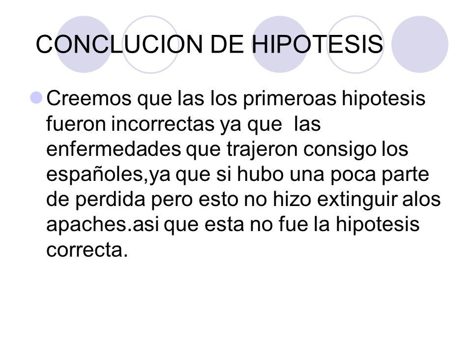 CONCLUCION DE HIPOTESIS Creemos que las los primeroas hipotesis fueron incorrectas ya que las enfermedades que trajeron consigo los españoles,ya que s