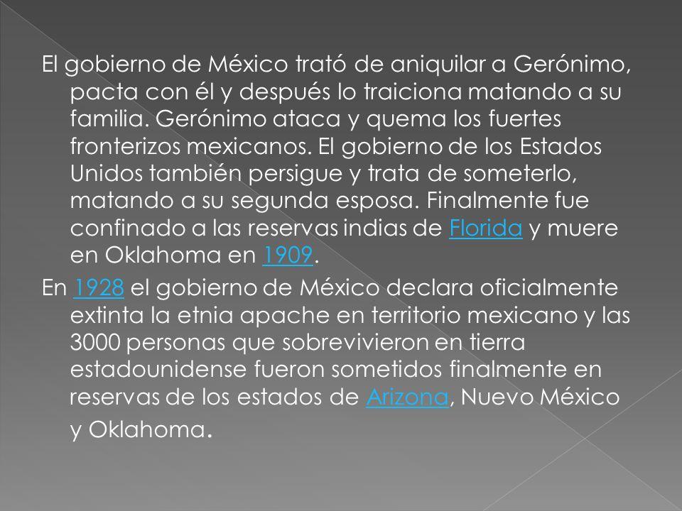 El gobierno de México trató de aniquilar a Gerónimo, pacta con él y después lo traiciona matando a su familia. Gerónimo ataca y quema los fuertes fron