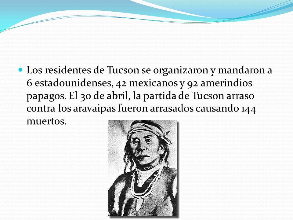 Los residentes de Tucson se organizaron y mandaron a 6 estadounidenses, 42 mexicanos y 92 amerindios papagos. El 30 de abril, la partida de Tucson arr
