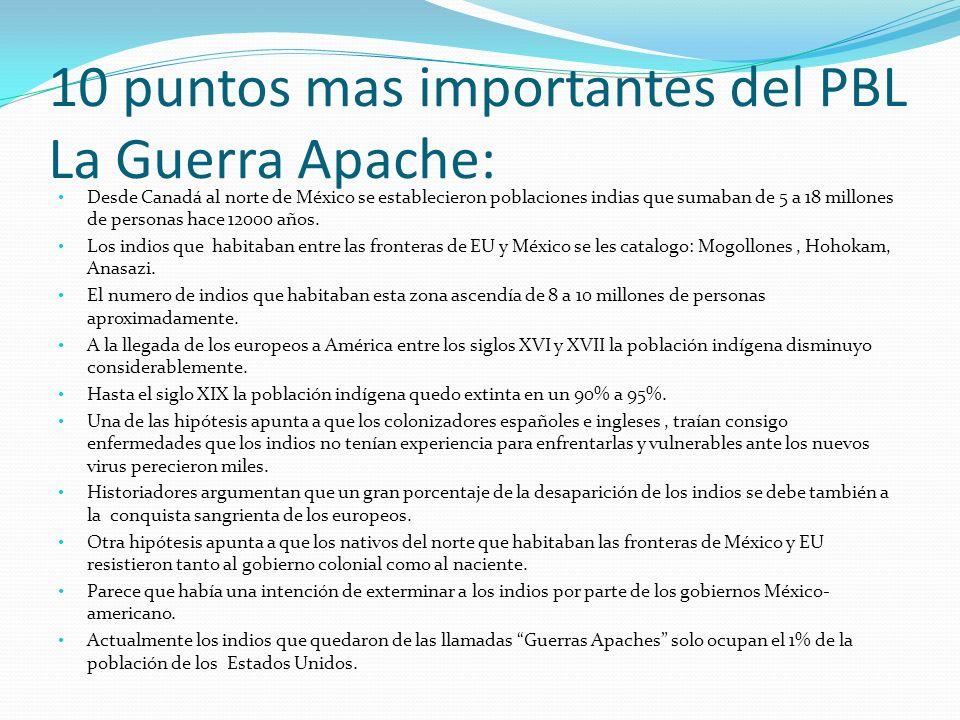 10 puntos mas importantes del PBL La Guerra Apache: Desde Canadá al norte de México se establecieron poblaciones indias que sumaban de 5 a 18 millones