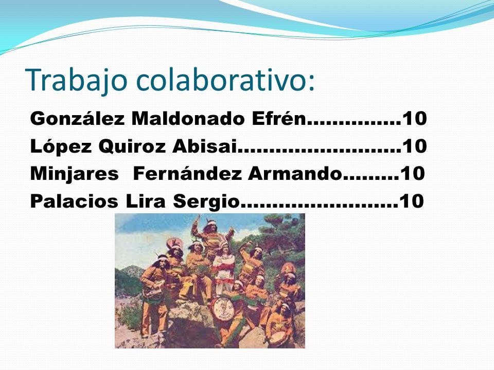 Trabajo colaborativo: González Maldonado Efrén……………10 López Quiroz Abisai……………………..10 Minjares Fernández Armando………10 Palacios Lira Sergio…………………….10