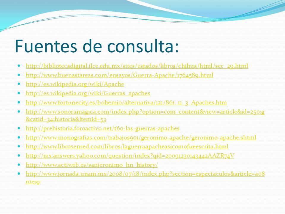 Fuentes de consulta: http://bibliotecadigital.ilce.edu.mx/sites/estados/libros/chihua/html/sec_29.html http://www.buenastareas.com/ensayos/Guerra-Apac