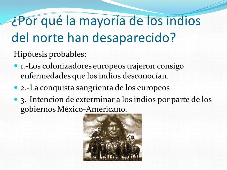 ¿Por qué la mayoría de los indios del norte han desaparecido? Hipótesis probables: 1.-Los colonizadores europeos trajeron consigo enfermedades que los