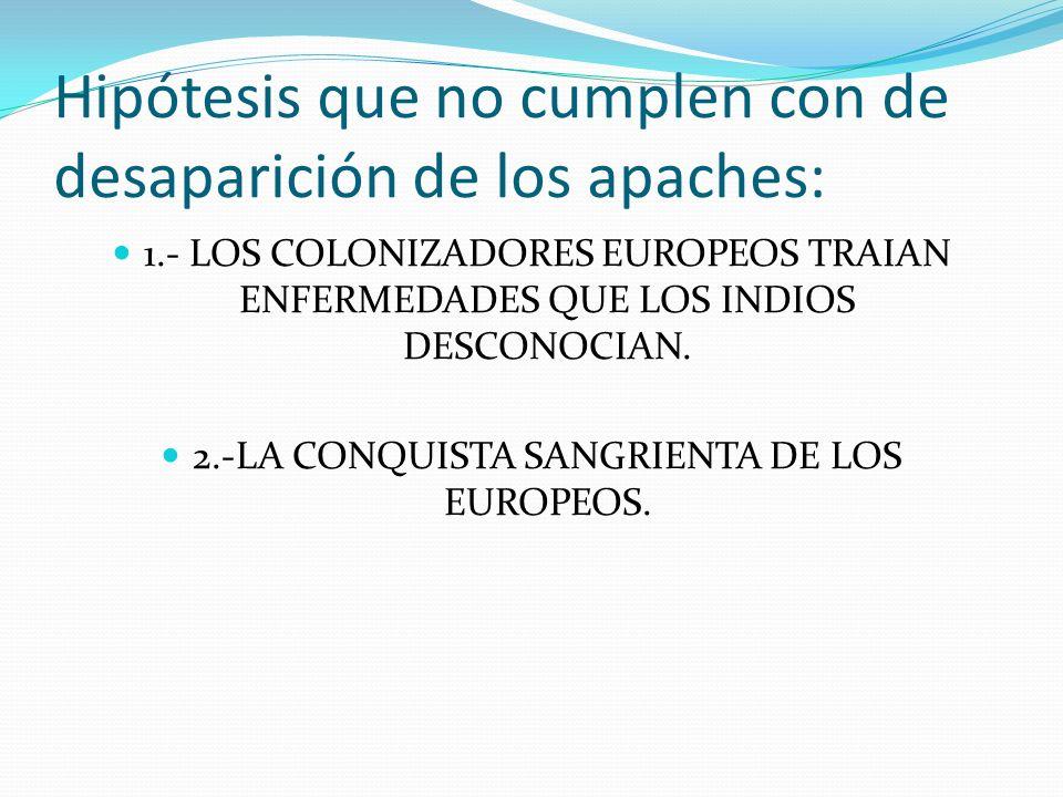 ENFERMEDADES Esta hipótesis nos habla de que aproximadamente en el siglo XIX un 95% de la población apache se había extinguido y todo por el acarreo de enfermedades que llevaban consigo todos los colonizadores tanto ingleses como y españoles.