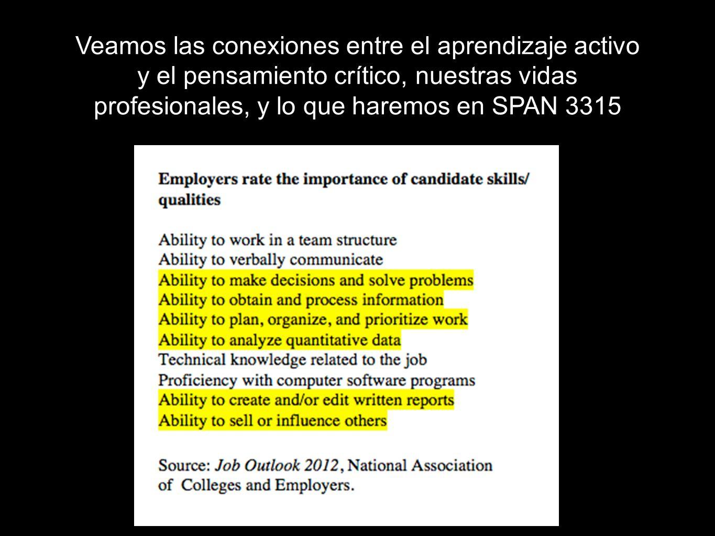 Veamos las conexiones entre el aprendizaje activo y el pensamiento crítico, nuestras vidas profesionales, y lo que haremos en SPAN 3315