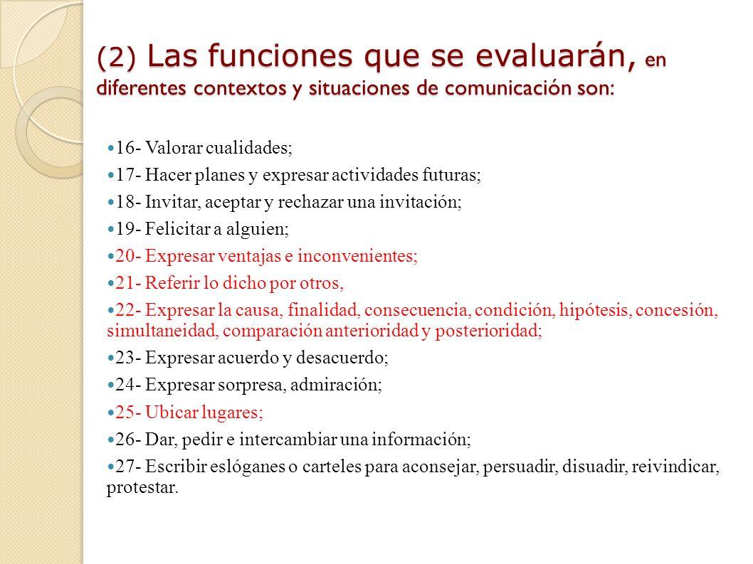 (1) Las funciones que se evaluarán, en diferentes contextos y situaciones de comunicación son: 1- Expresar estados de ánimo y sentimientos; 2 - Expres