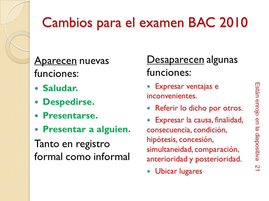 Modificaciones que aparecen en el documento de 17 de enero de 2010 (modificación del MARCO REFERENCIAL PARA EL EXAMEN NACIONAL NORMALIZADO DE BACHILLE