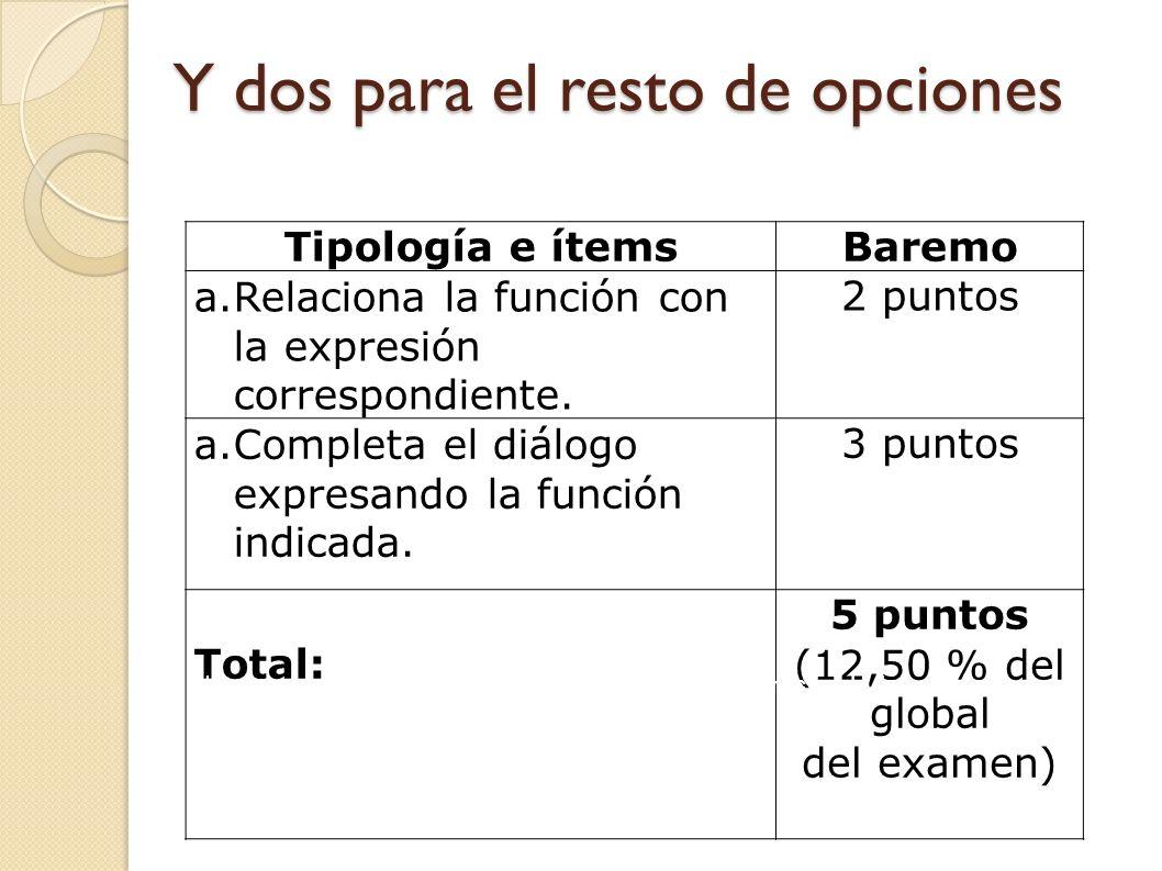 Hay tres tipologías e ítems para la opción de letras Tipología e ítemsBaremo a.Relaciona la función con la expresión correspondiente. 1 punto a.Comple