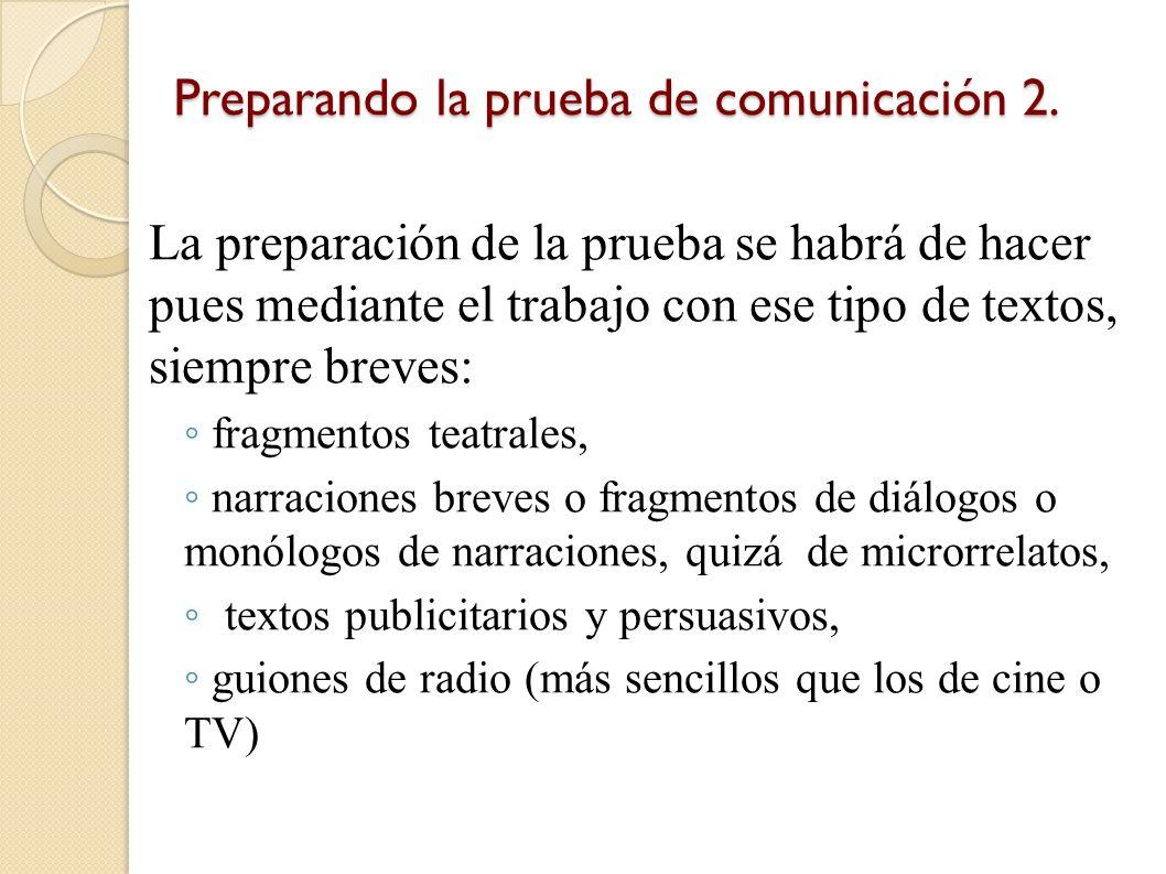 Preparando la prueba de comunicación 1. En las diapositivas 5, 6, 7, 8 y 9 hemos visto que se pide a los examinandos que produzcan textos muy breves,
