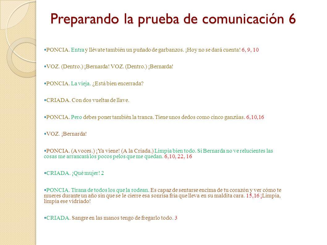 Preparando la prueba de comunicación 5 Por ejemplo, vamos a escoger el comienzo del primer acto de La casa de Bernarda Alba, cuando Poncia citica y ma