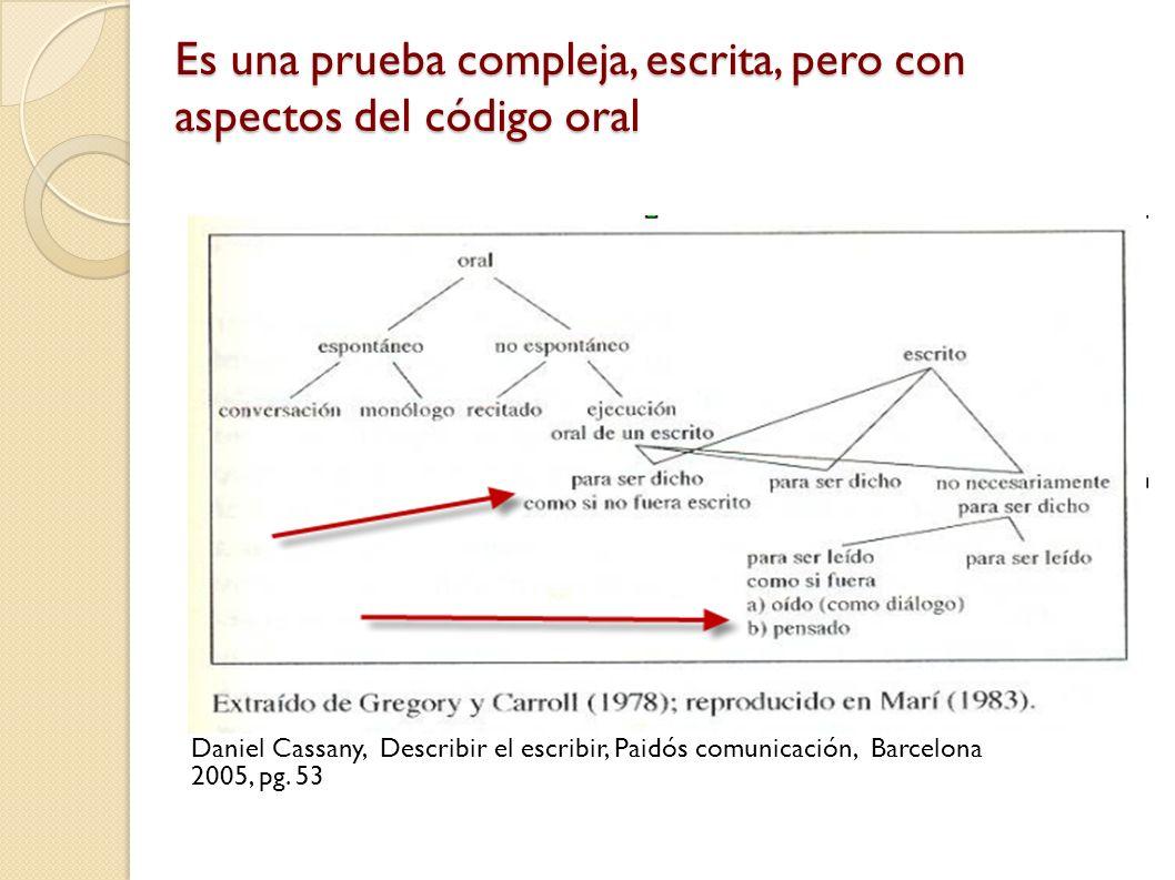 Es una prueba compleja, escrita, pero con aspectos del código oral Daniel Cassany, Describir el escribir, Paidós comunicación, Barcelona 2005, pg.