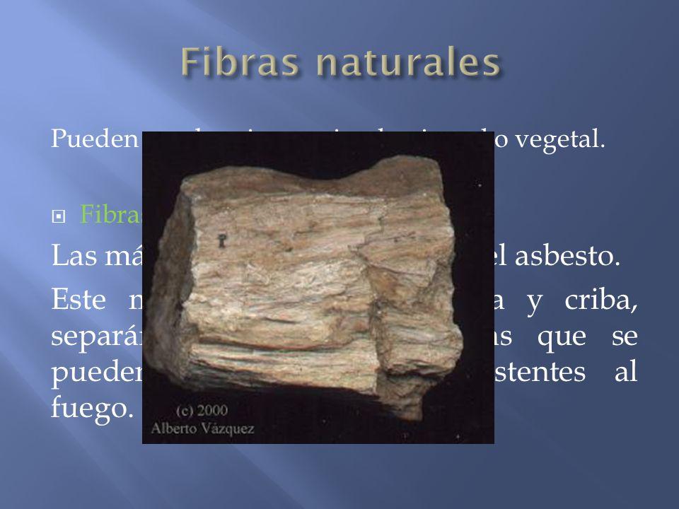 Pueden ser de origen animal, mineral o vegetal. Fibras minerales Las más conocidas se obtienen del asbesto. Este mineral se deseca, tritura y criba, s