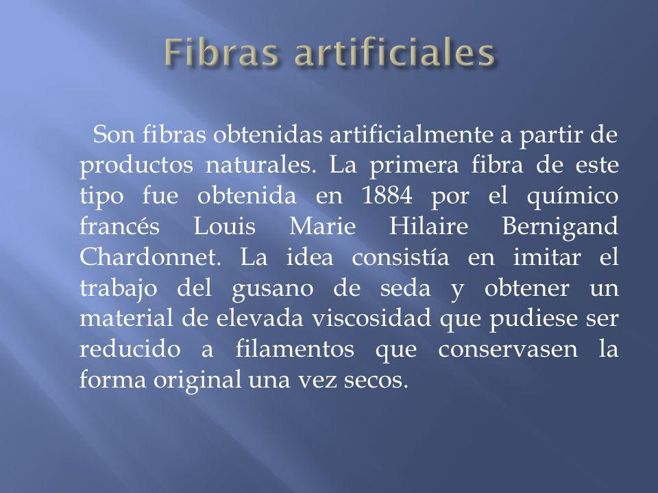 Son fibras obtenidas artificialmente a partir de productos naturales. La primera fibra de este tipo fue obtenida en 1884 por el químico francés Louis