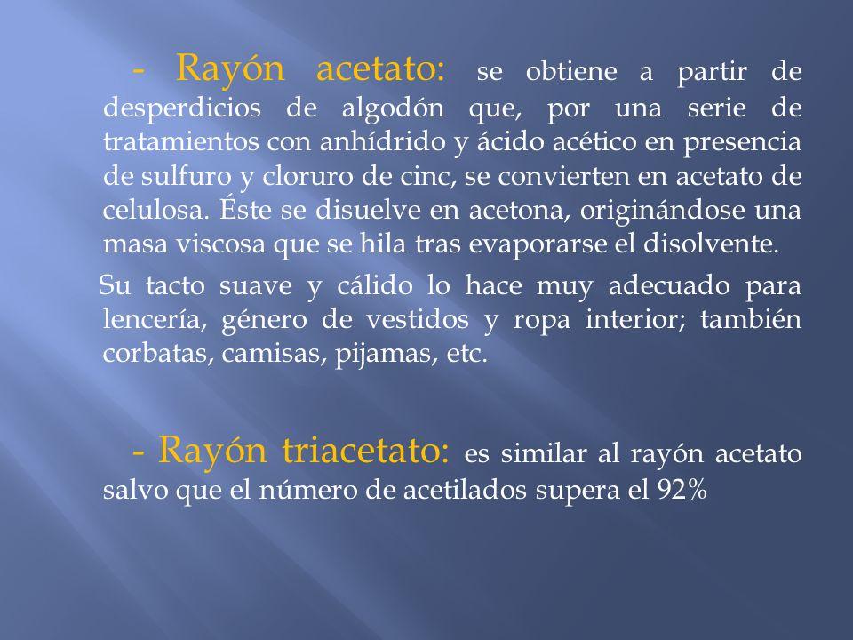 - Rayón acetato: se obtiene a partir de desperdicios de algodón que, por una serie de tratamientos con anhídrido y ácido acético en presencia de sulfu