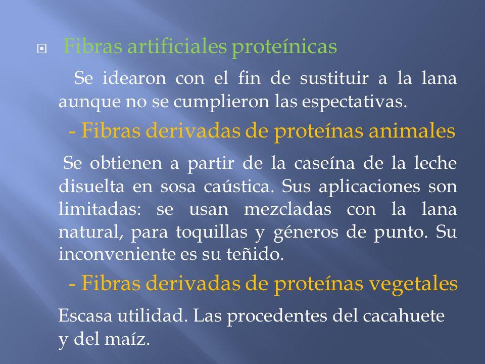 Fibras artificiales proteínicas Se idearon con el fin de sustituir a la lana aunque no se cumplieron las espectativas. - Fibras derivadas de proteínas