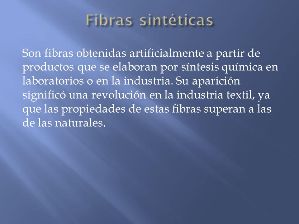 Son fibras obtenidas artificialmente a partir de productos que se elaboran por síntesis química en laboratorios o en la industria. Su aparición signif