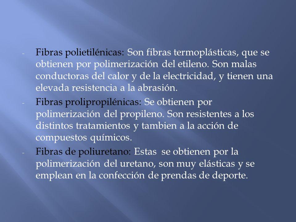 - Fibras polietilénicas: Son fibras termoplásticas, que se obtienen por polimerización del etileno. Son malas conductoras del calor y de la electricid