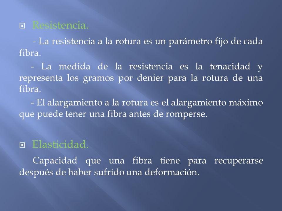 Resistencia. - La resistencia a la rotura es un parámetro fijo de cada fibra. - La medida de la resistencia es la tenacidad y representa los gramos po