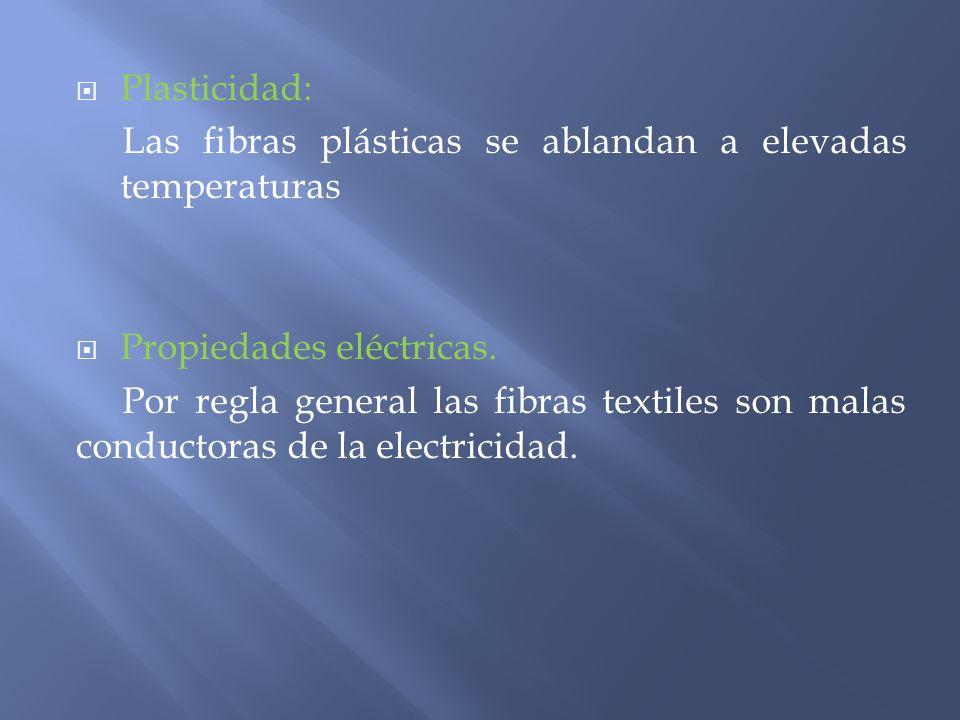 Plasticidad: Las fibras plásticas se ablandan a elevadas temperaturas Propiedades eléctricas. Por regla general las fibras textiles son malas conducto