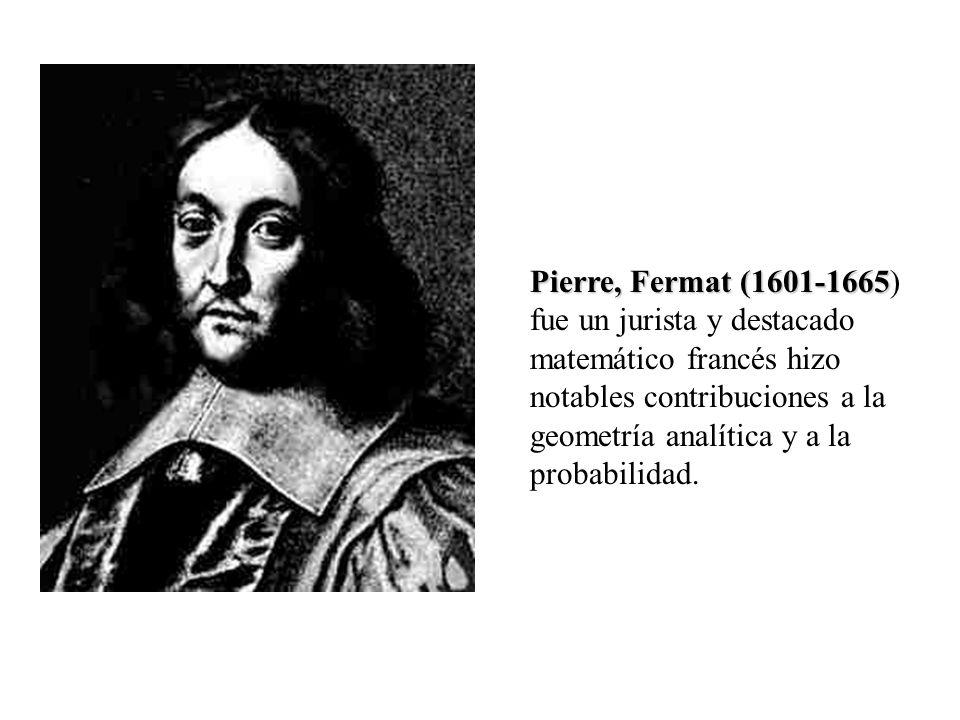 Pierre, Fermat (1601-1665 Pierre, Fermat (1601-1665) fue un jurista y destacado matemático francés hizo notables contribuciones a la geometría analíti