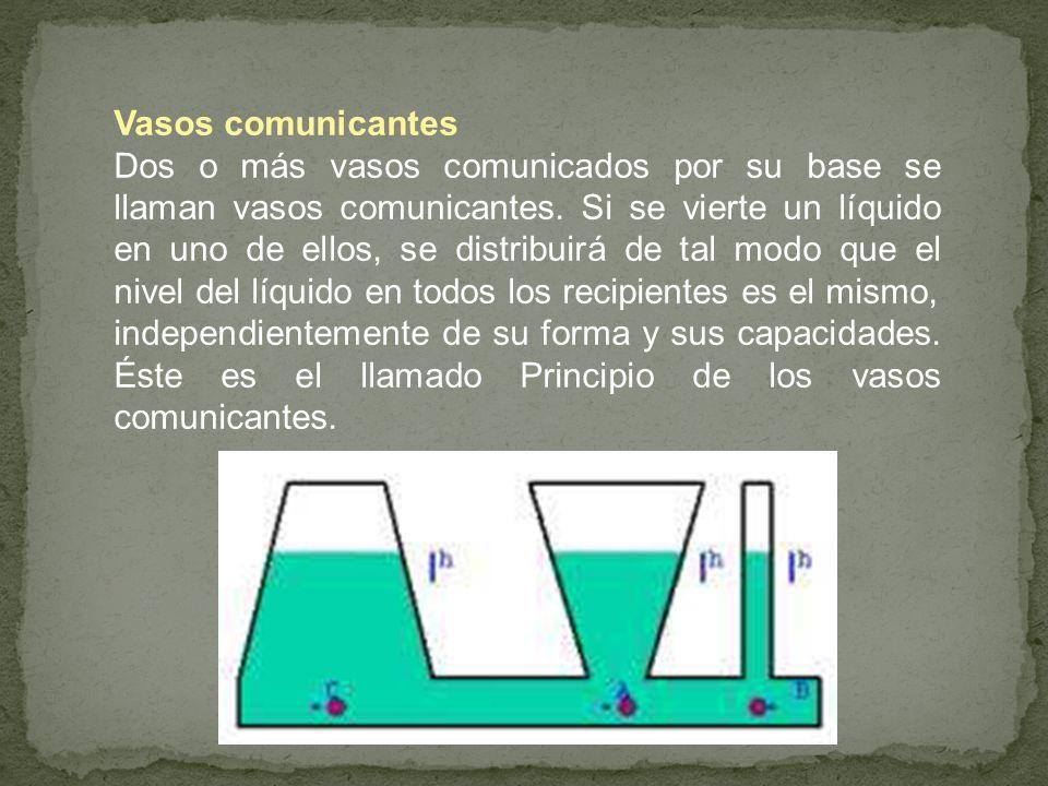 Vasos comunicantes Dos o más vasos comunicados por su base se llaman vasos comunicantes. Si se vierte un líquido en uno de ellos, se distribuirá de ta