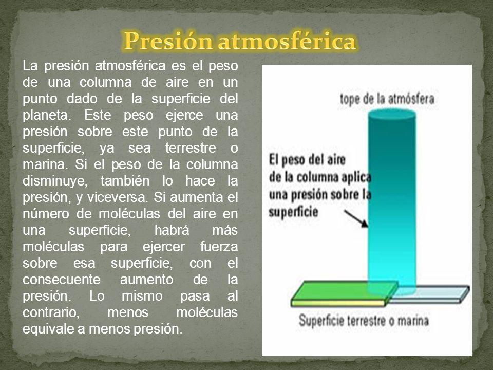 La presión atmosférica es el peso de una columna de aire en un punto dado de la superficie del planeta. Este peso ejerce una presión sobre este punto