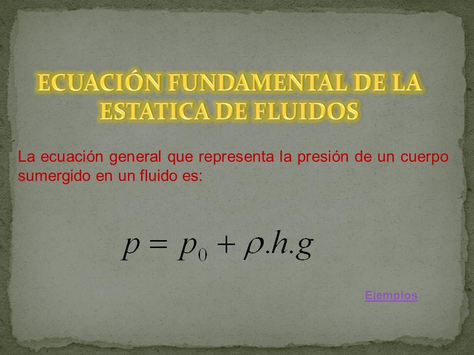 La ecuación general que representa la presión de un cuerpo sumergido en un fluido es: Ejemplos