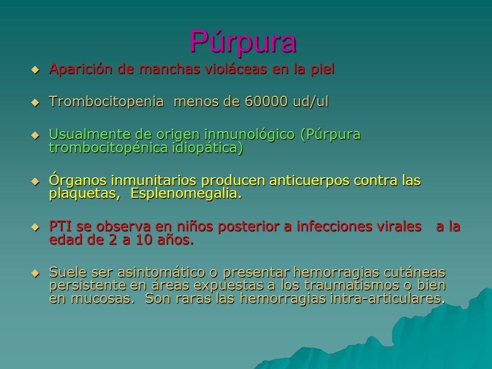 Púrpura Aparición de manchas violáceas en la piel Aparición de manchas violáceas en la piel Trombocitopenia menos de 60000 ud/ul Trombocitopenia menos