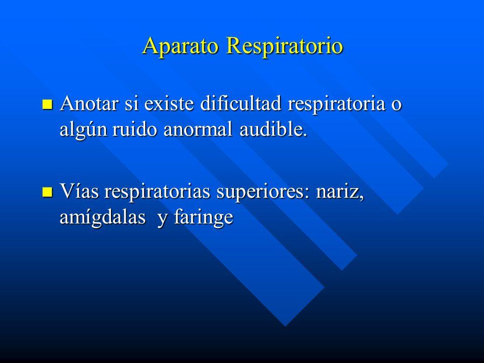 Aparato Respiratorio Anotar si existe dificultad respiratoria o algún ruido anormal audible. Anotar si existe dificultad respiratoria o algún ruido an