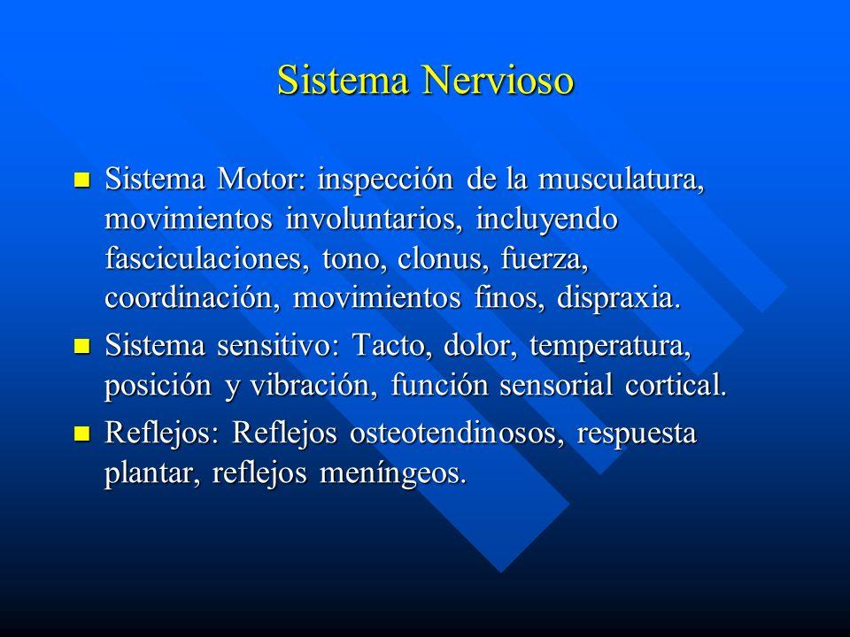 Sistema Nervioso Sistema Motor: inspección de la musculatura, movimientos involuntarios, incluyendo fasciculaciones, tono, clonus, fuerza, coordinació