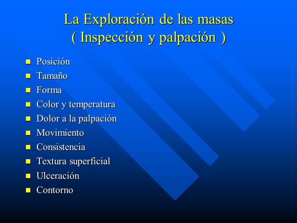 La Exploración de las masas ( Inspección y palpación ) Posición Posición Tamaño Tamaño Forma Forma Color y temperatura Color y temperatura Dolor a la