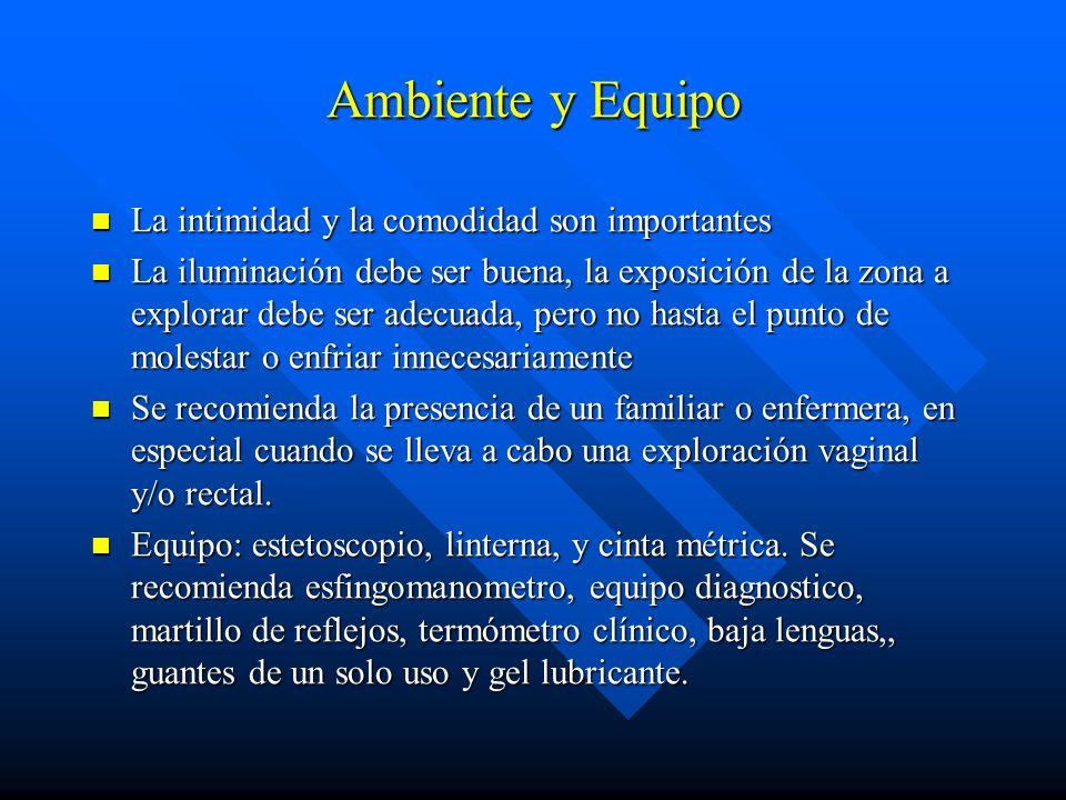 Ambiente y Equipo La intimidad y la comodidad son importantes La intimidad y la comodidad son importantes La iluminación debe ser buena, la exposición