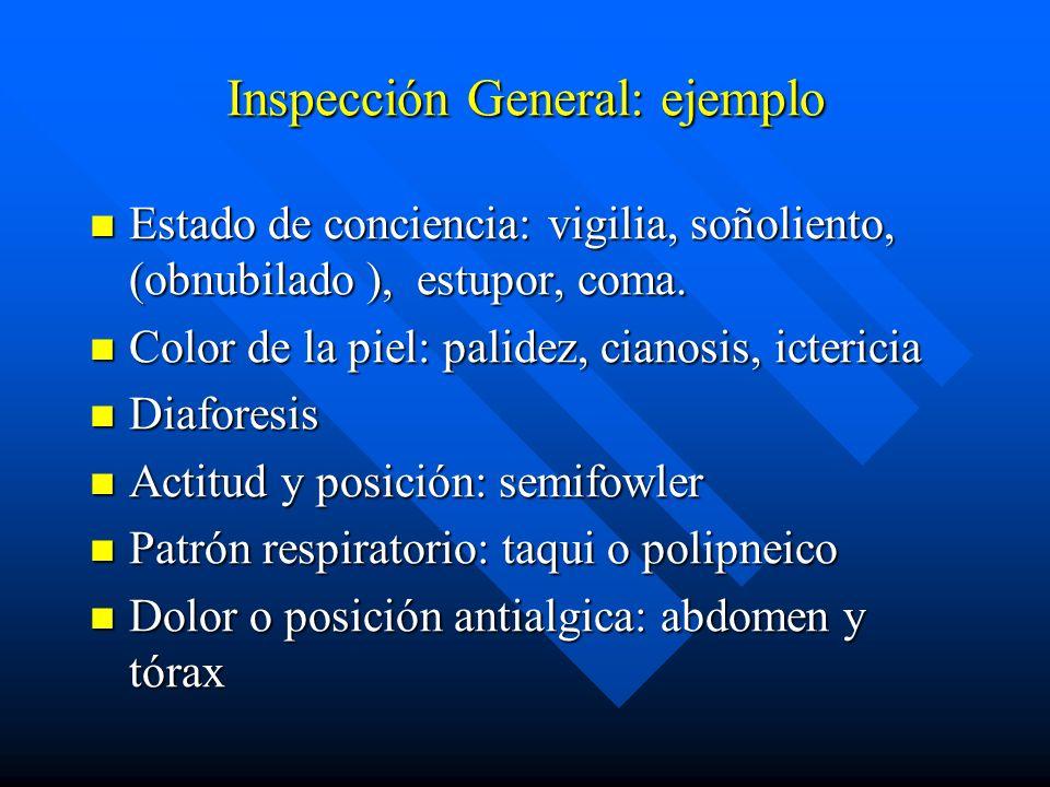 Inspección General: ejemplo Estado de conciencia: vigilia, soñoliento, (obnubilado ), estupor, coma. Estado de conciencia: vigilia, soñoliento, (obnub