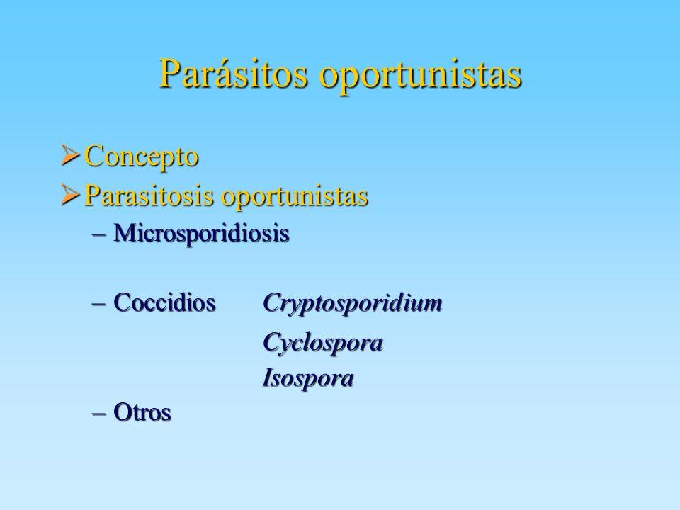 Parásitos oportunistas Concepto Concepto Parasitosis oportunistas Parasitosis oportunistas –Microsporidiosis –Coccidios Cryptosporidium Cyclospora Cyc