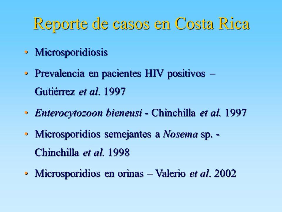 Reporte de casos en Costa Rica MicrosporidiosisMicrosporidiosis Prevalencia en pacientes HIV positivos – Gutiérrez et al. 1997Prevalencia en pacientes