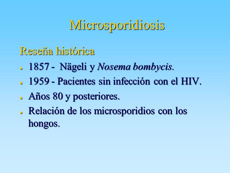 Microsporidiosis Reseña histórica 1857 - Nägeli y Nosema bombycis. 1857 - Nägeli y Nosema bombycis. 1959 - Pacientes sin infección con el HIV. 1959 -
