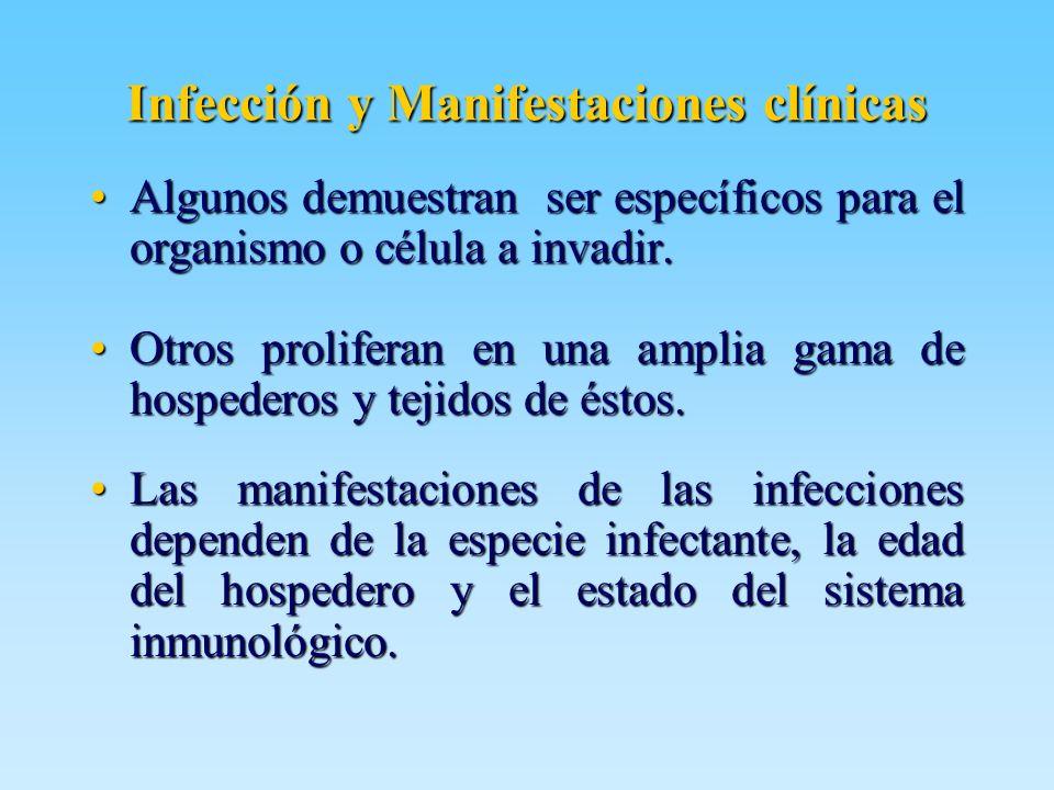 Infección y Manifestaciones clínicas Algunos demuestran ser específicos para el organismo o célula a invadir.Algunos demuestran ser específicos para e