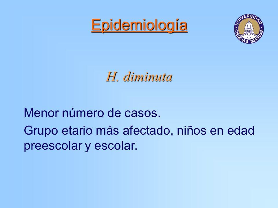 Epidemiología H. diminuta Menor número de casos. Grupo etario más afectado, niños en edad preescolar y escolar.