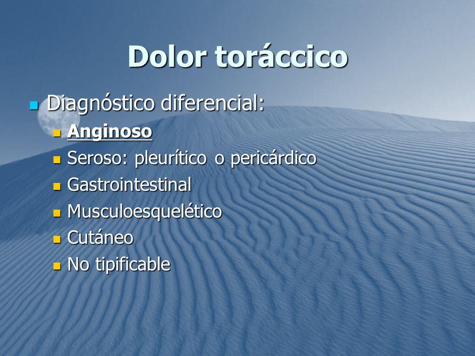Dolor toráccico Diagnóstico diferencial: Diagnóstico diferencial: Anginoso Anginoso Seroso: pleurítico o pericárdico Seroso: pleurítico o pericárdico