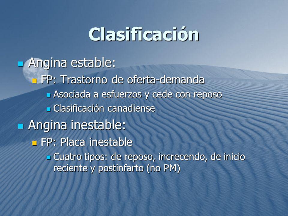 Clasificación Angina estable: Angina estable: FP: Trastorno de oferta-demanda FP: Trastorno de oferta-demanda Asociada a esfuerzos y cede con reposo A