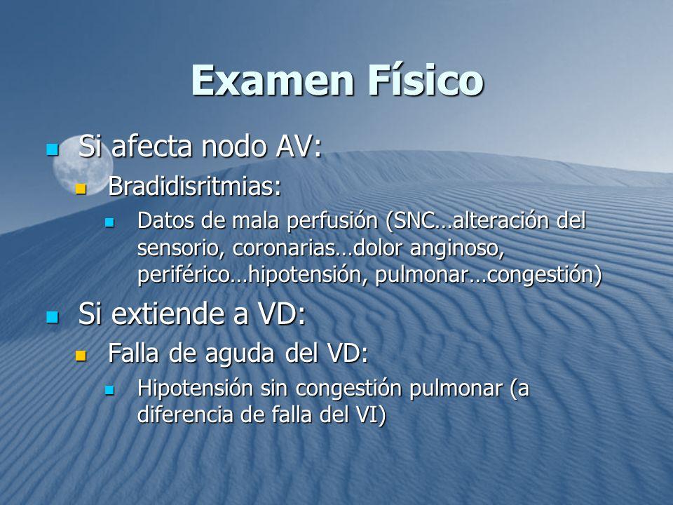 Examen Físico Si afecta nodo AV: Si afecta nodo AV: Bradidisritmias: Bradidisritmias: Datos de mala perfusión (SNC…alteración del sensorio, coronarias