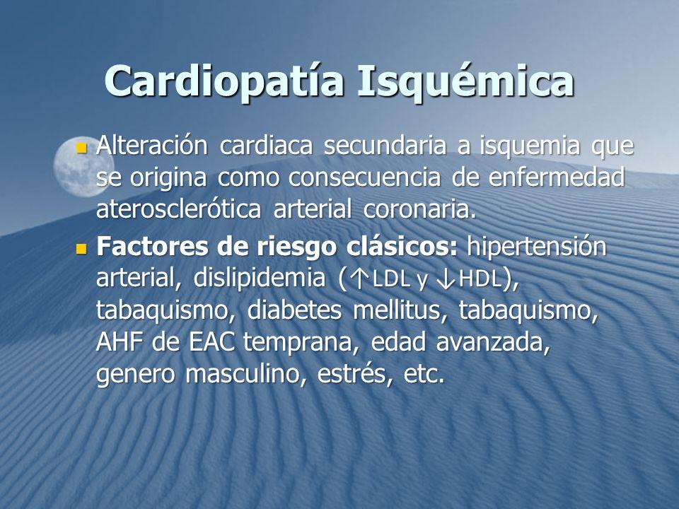 Alteración cardiaca secundaria a isquemia que se origina como consecuencia de enfermedad aterosclerótica arterial coronaria. Alteración cardiaca secun