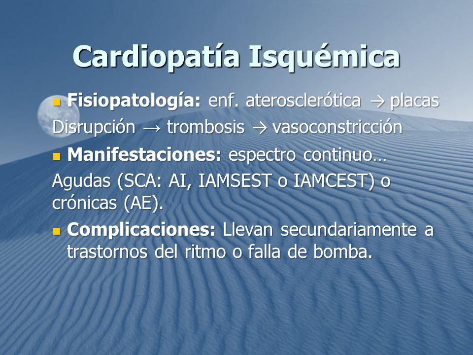 Cardiopatía Isquémica Fisiopatología: enf. aterosclerótica placas Fisiopatología: enf. aterosclerótica placas Disrupción trombosis vasoconstricción Ma
