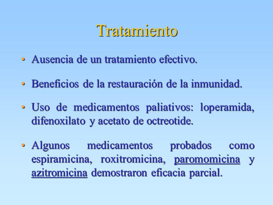 Tratamiento Ausencia de un tratamiento efectivo.Ausencia de un tratamiento efectivo. Beneficios de la restauración de la inmunidad.Beneficios de la re
